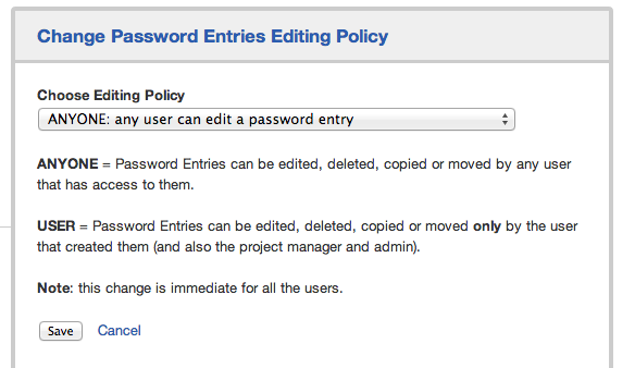 Change password entries editing policy