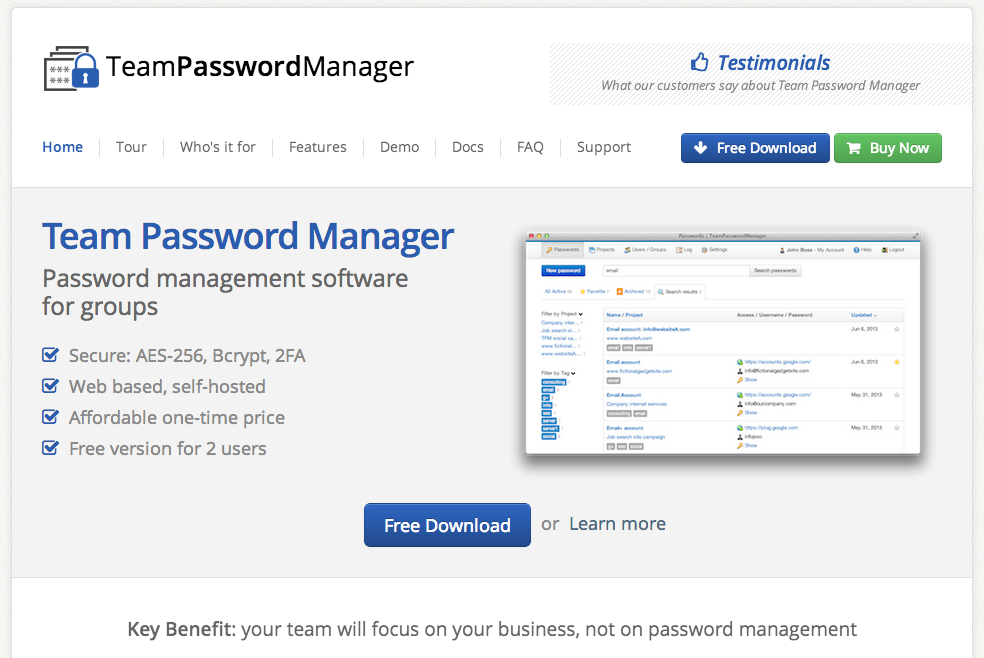 2013 site for Team Password Manager