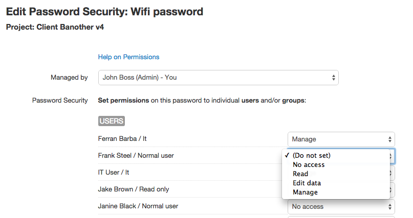 Edit password security in V6