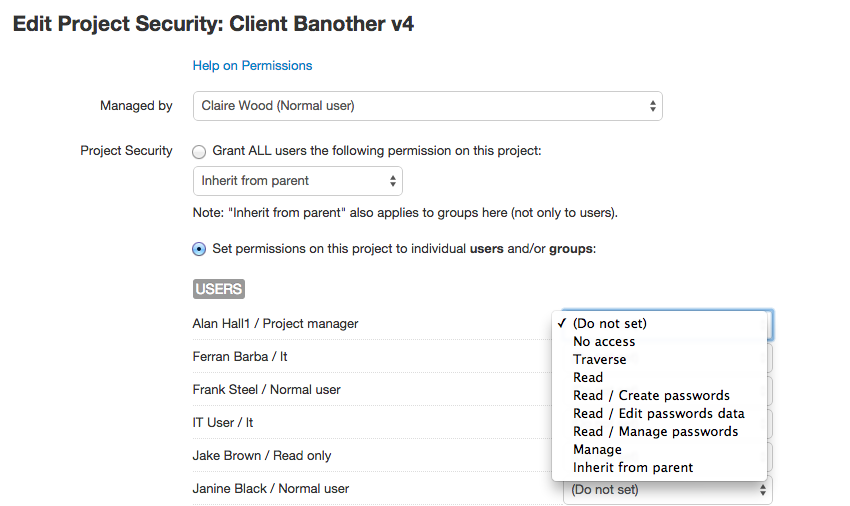 Edit project security in V6