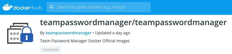 Docker image for Team Password Manager