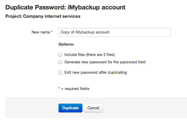 Duplicate password