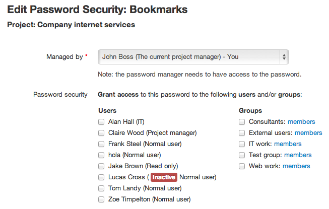 Edit password security