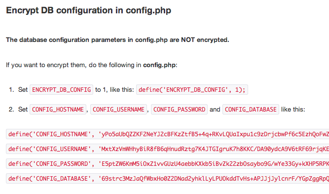 Encrypt db config
