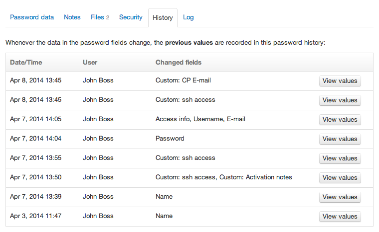 The password history tab