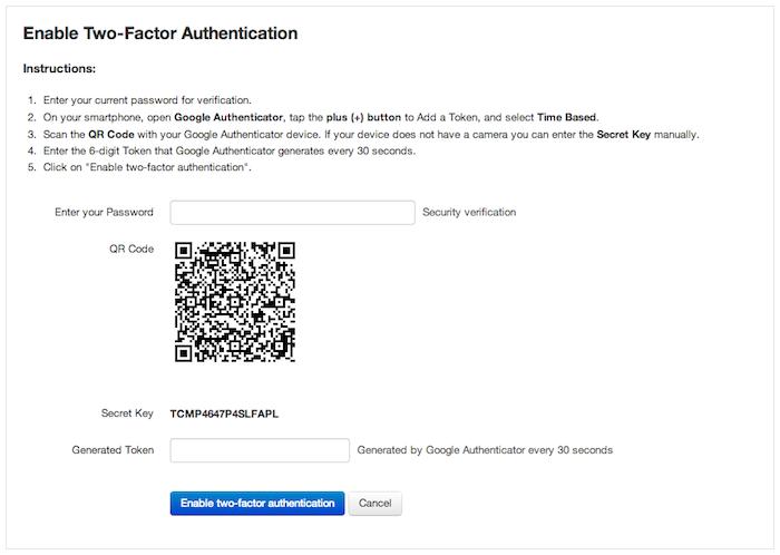 2FA configuration for a user