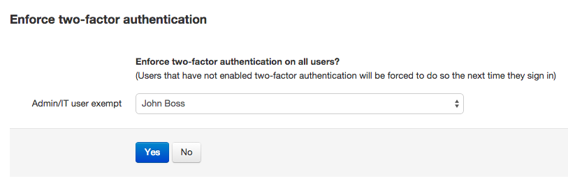 Enforcing 2FA authentication