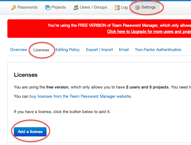 Team Password Manager add a license