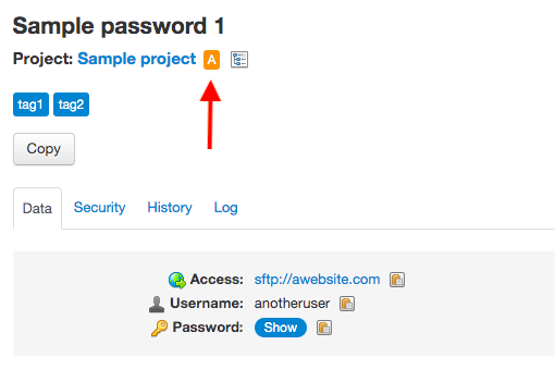 Archived password in an archived project