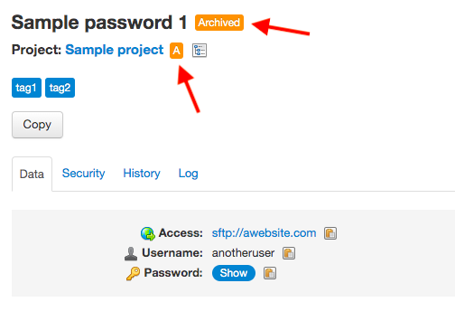 Archived password, archived project