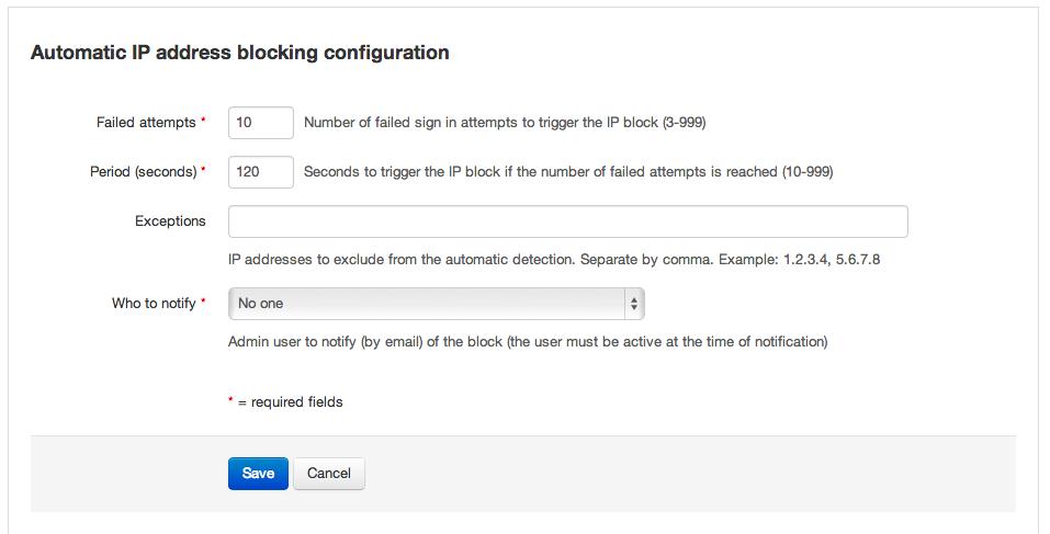 Automatic IP blocking configuration