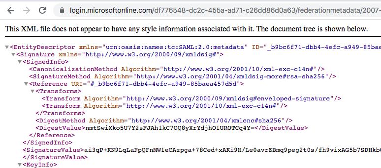 Azure AD SAML Certificate