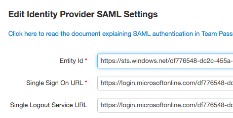 Azure AD SAML IdP details in Team Password Manager
