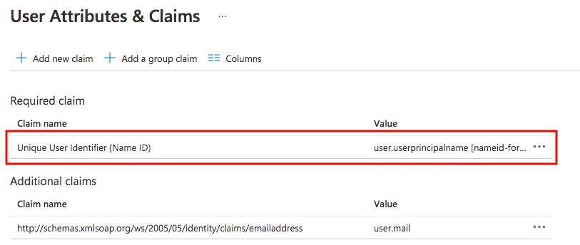 Azure AD SAML User Attributes & Claims