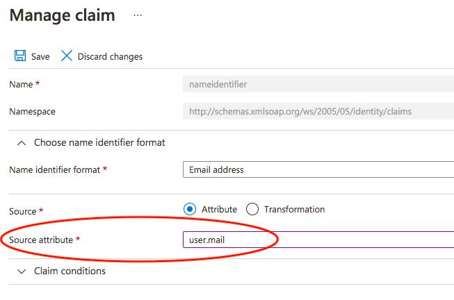 Azure AD SAML User Manage Claim