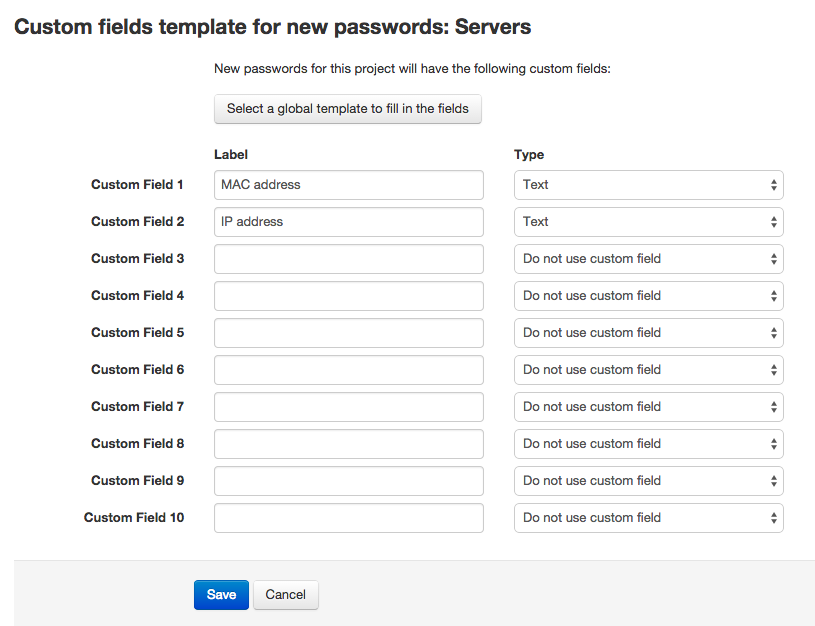 Creating a custom fields template in a project