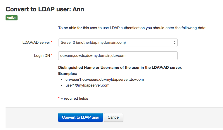 Convert normal user to LDAP user