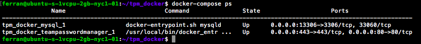 Docker Compose ps