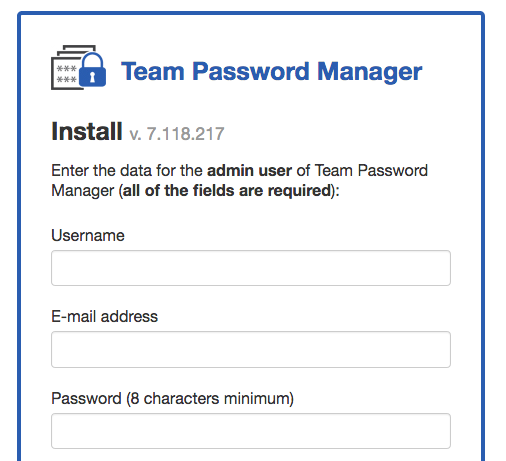 Docker Team Password Manager installer