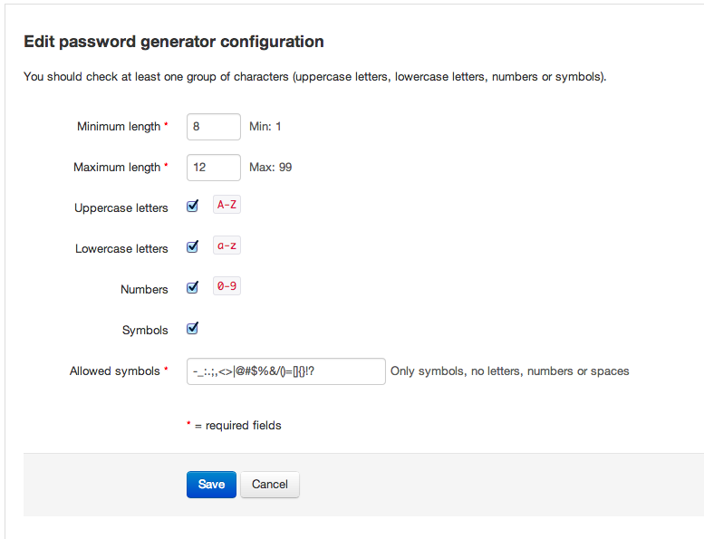 Edit password generator configuration