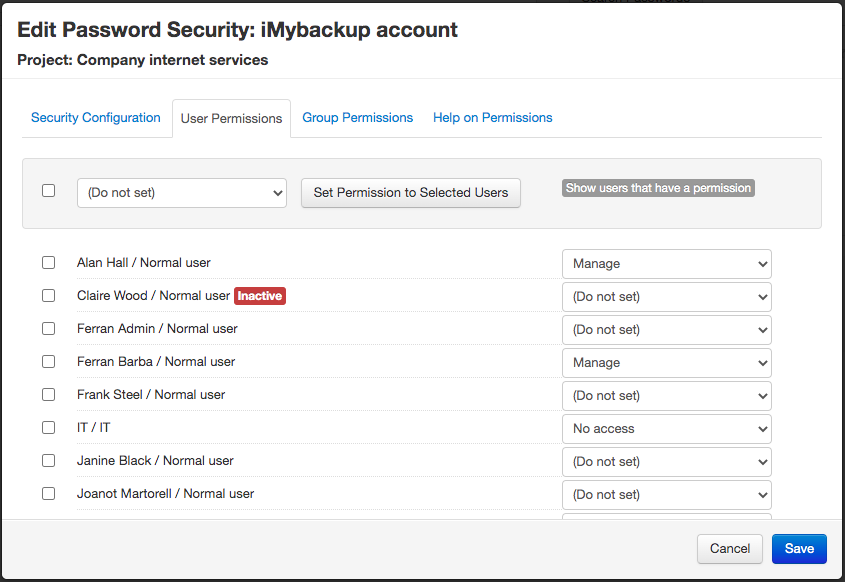 Edit password security