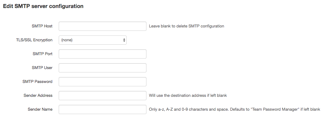 Email SMTP server settings