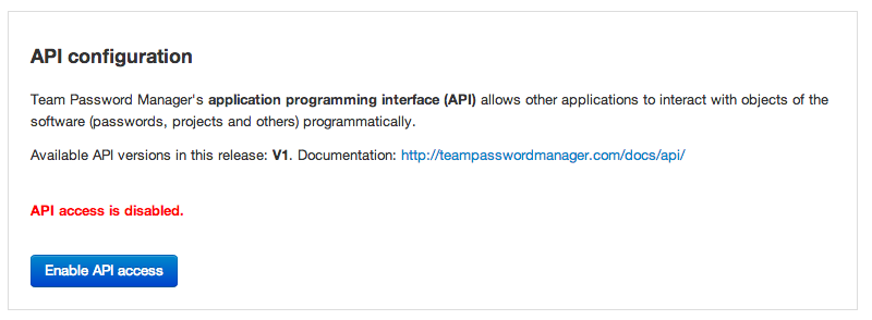 How to enable API access