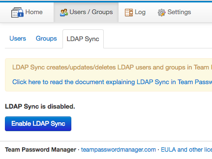 Enable LDAP Sync