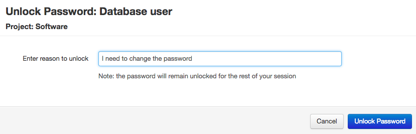 Entering a reason to unlock a password