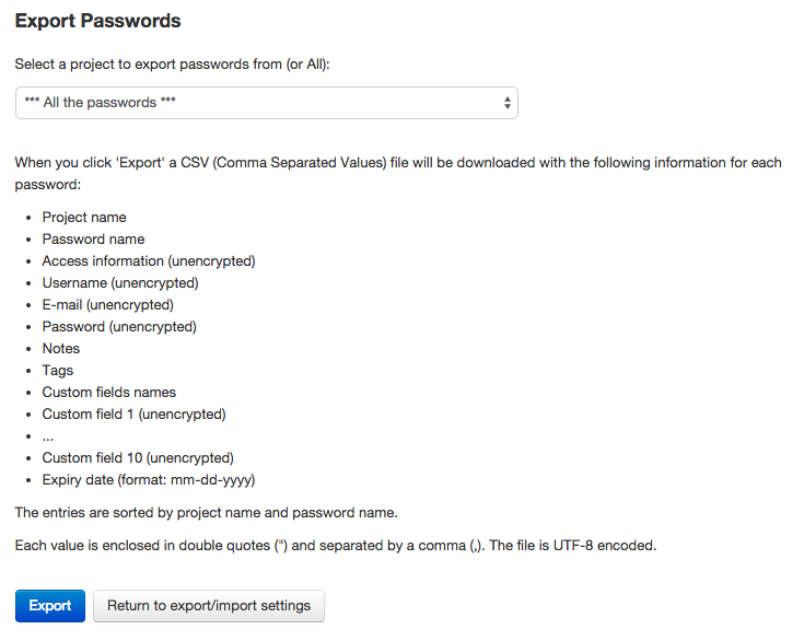 Exporting passwords in Team Password Manager