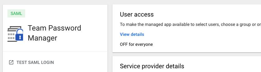 Google SAML app screen