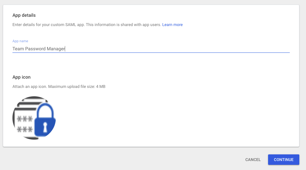 Google SAML app name and logo