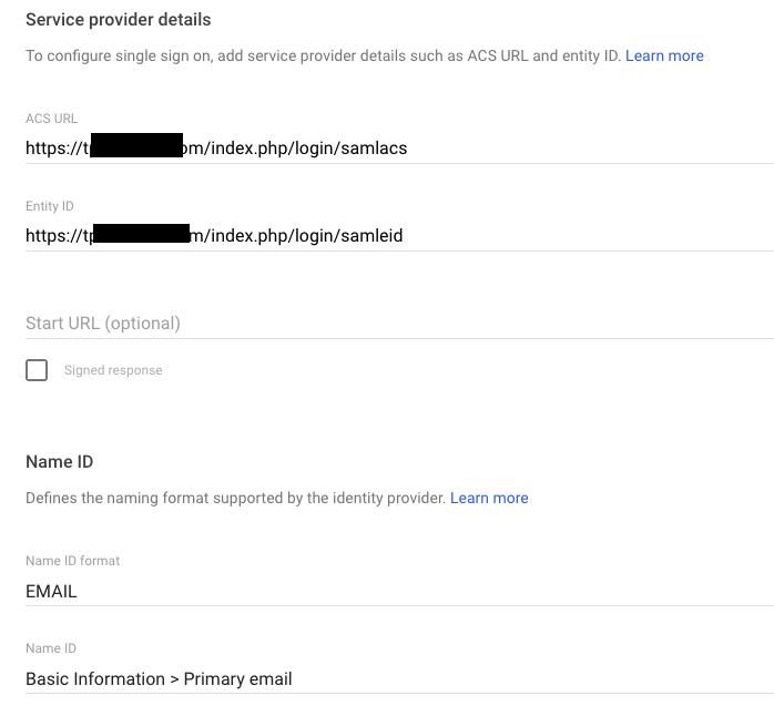 Team Password Manager SP details in Google