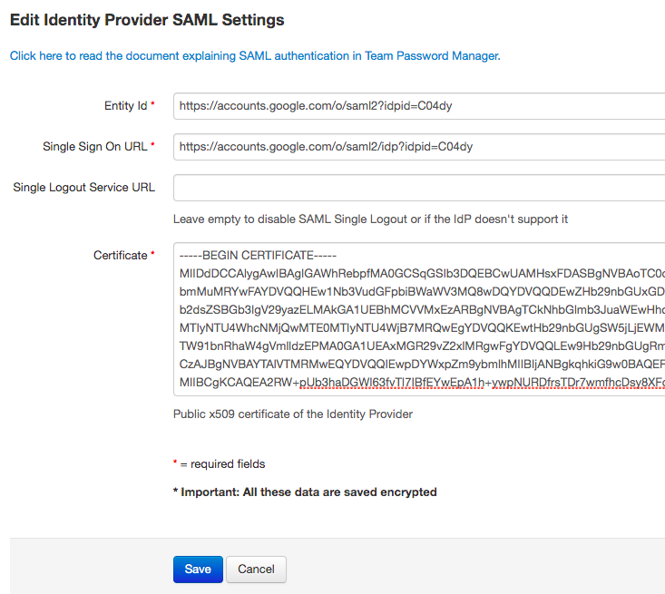 Google SAML IdP details in Team Password Manager