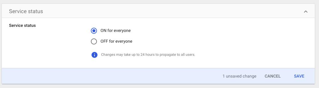 Google SAML turn on service status