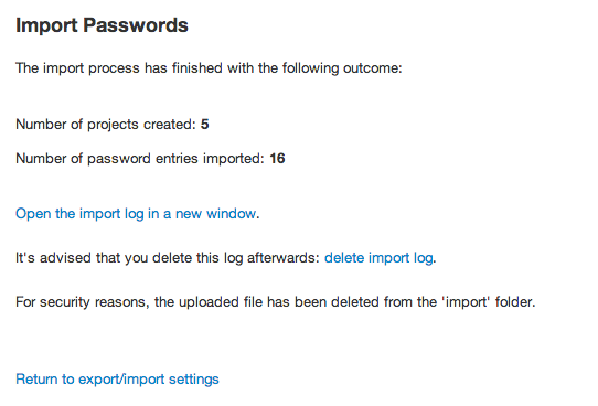 Importing passwords results in Team Password Manager