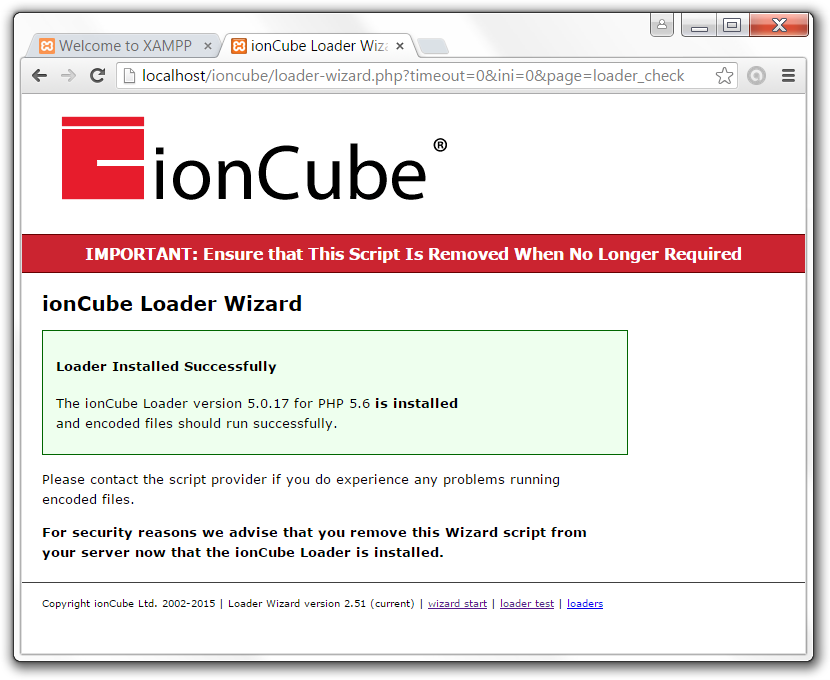 Ioncube loader is installed!