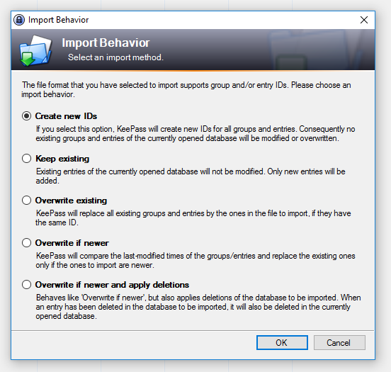 Keepass import behavior