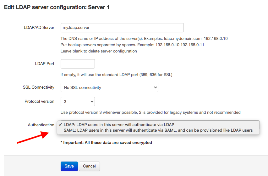 SAML authentication for LDAP users