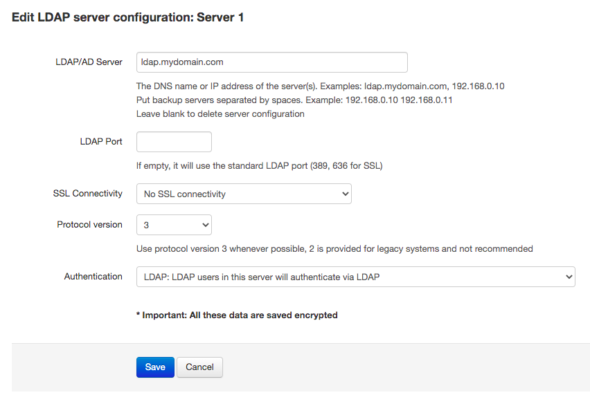 LDAP server connection settings