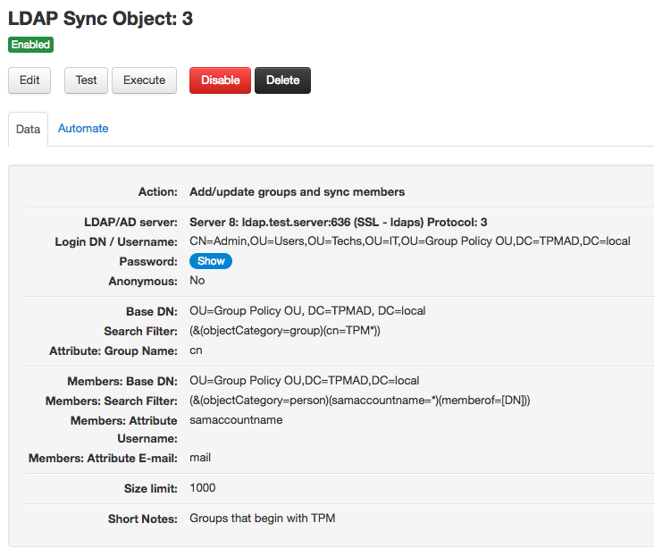 LDAP Sync add/update groups object