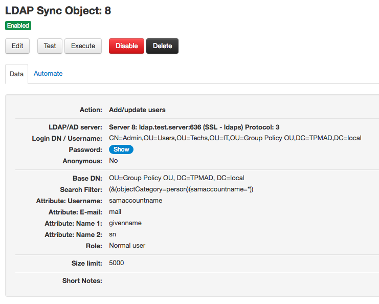 LDAP Sync add/update users object