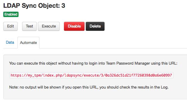 LDAP Sync object automate tab
