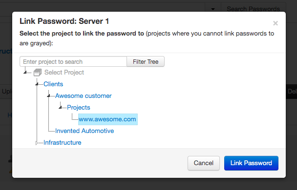 Link a password select project