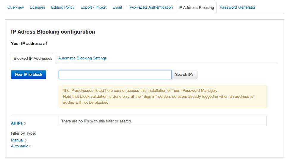 Manual IP address blocking