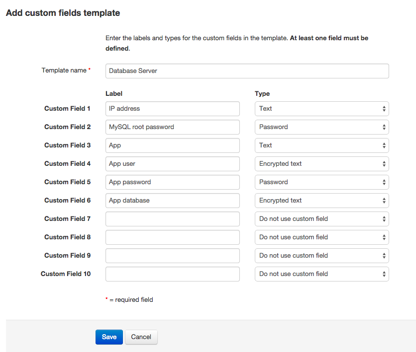 Creating a global custom fields template
