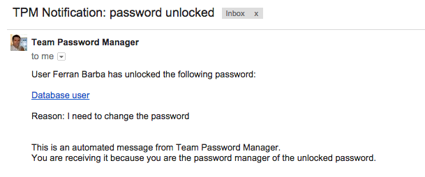 Notification password unlocked