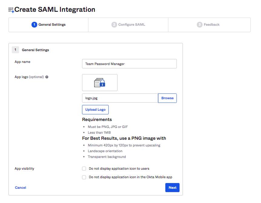 Okta SAML app name and logo