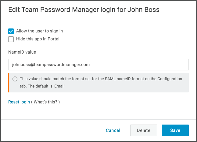 Assign OneLogin user to the SAML application 2