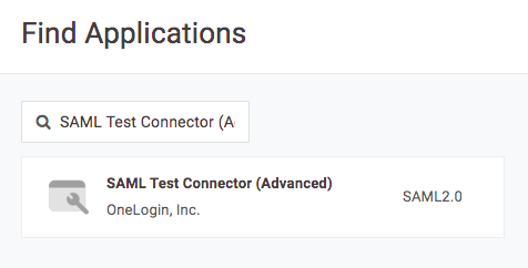 OneLogin find applications